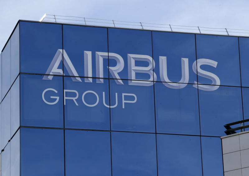 FILE - This May 6, 2016 file photo shows the logo of the Airbus Group in Suresnes, outside Paris. The World Trade Organization says the United States can impose tariffs on up to $7.5 billion worth of goods from the European Union as retaliation for illegal subsidies to European plane-maker Airbus — a record award from the trade body. (AP Photo/Michel Euler, File)