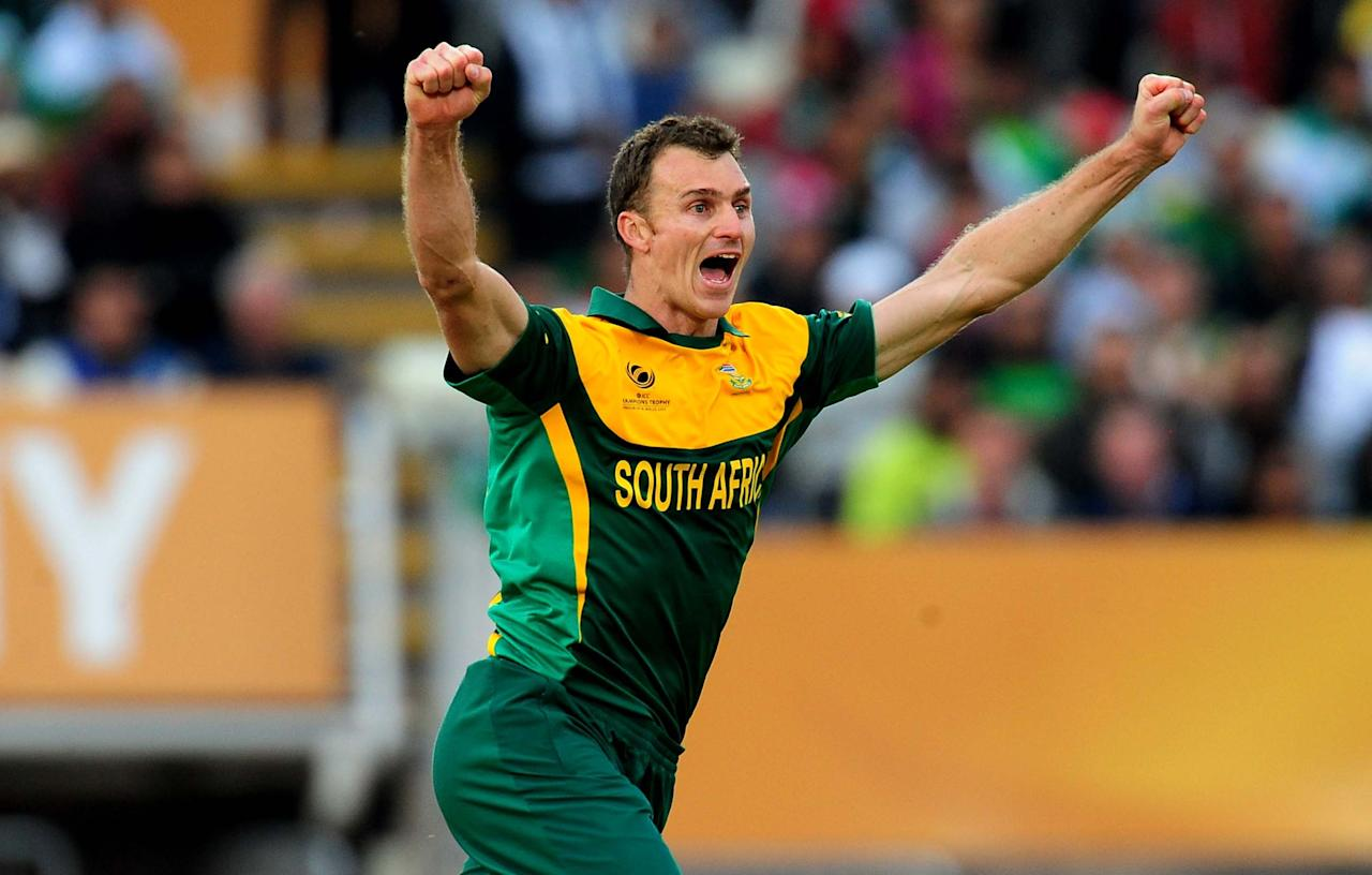 South Africa's Ryan Mclaren celebrates during the ICC Champions Trophy match at Edgbaston, Birmingham.