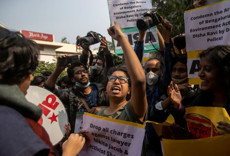 Protest against the arrest of 22-year-old climate activist Disha Ravi, in New Delhi