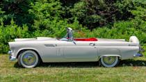 <p>In 1954, Ford began crash testing its cars, but there was an even bigger milestone that year when the sleek Thunderbird debuted. Its genesis could be traced to World War II when American servicemen got a look at European sports cars and came home with a lust for them. Ford rival General Motors was first to the market with its 1953 Chevy Corvette. The response to the Corvette? The T-bird, a year later.</p> <p>The new Ford Thunderbird was cushy and comfy and boasted a powerful V-8 engine and manual transmission — plus those instantly legendary porthole windows. Four years later, a four-seater hit the market. The T-bird was discontinued in 1997 due to lousy sales, but Ford tried again in 2002, going old school with its looks (and those windows) for the ultimate throwback nostalgia feel. The car went out of production in 2005, but the 1950s lasted a long time for this iconic car.</p>