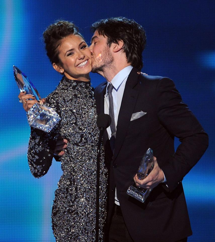 """<p><strong>When:</strong> 2014</p><p><strong>What happened:</strong> The duo won for Favorite On-Screen Chemistry for <em>The Vampire Diaries</em>, where they played on-screen lovers. They were lovers off-screen, too... until they weren't.</p><p>During their <a href=""""https://youtu.be/ku97tJFadPQ?t=37"""" target=""""_blank"""">clearly pre-rehearsed speech</a>, they said how they started dating on the show, then started dating IRL, then broke up IRL, but were still dating on the show.</p><p>""""It's a good thing it's not awkward. Well, it's a good thing we have chemistry,"""" Nina said.</p>"""
