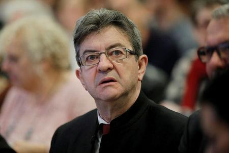 FILE PHOTO: Jean-Luc Melenchon of the French far left Parti de Gauche and candidate for the 2017 French presidential election, attends a meeting to present his proposals on foreign and defense policy in Paris