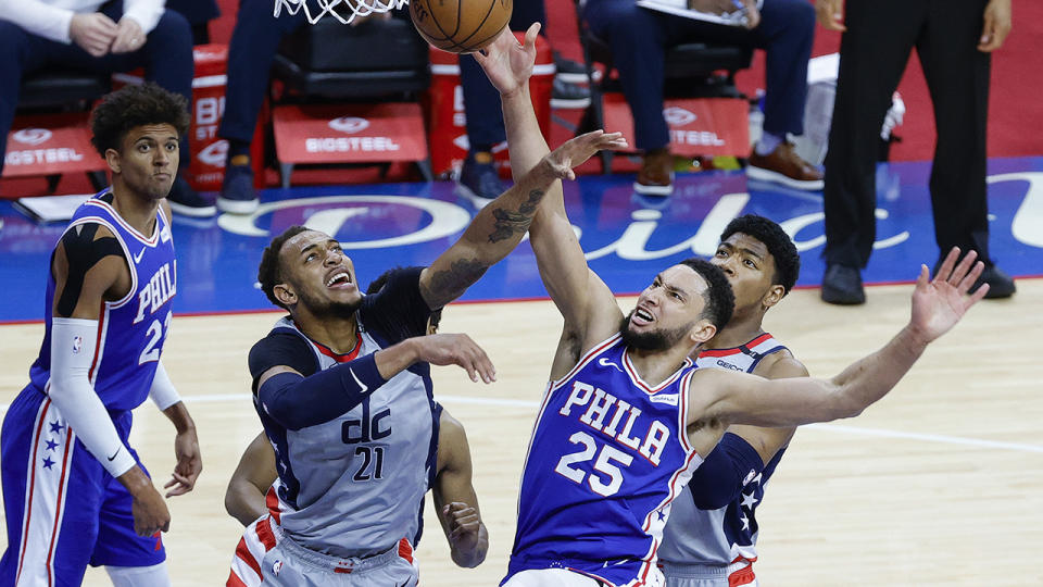 Ben Simmons closed out the 76ers' 4-1 series victory over Washington with a triple double. (Photo by Tim Nwachukwu/Getty Images)