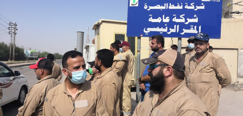Local worker Muhammad Subeih Haider protests with others in Basra