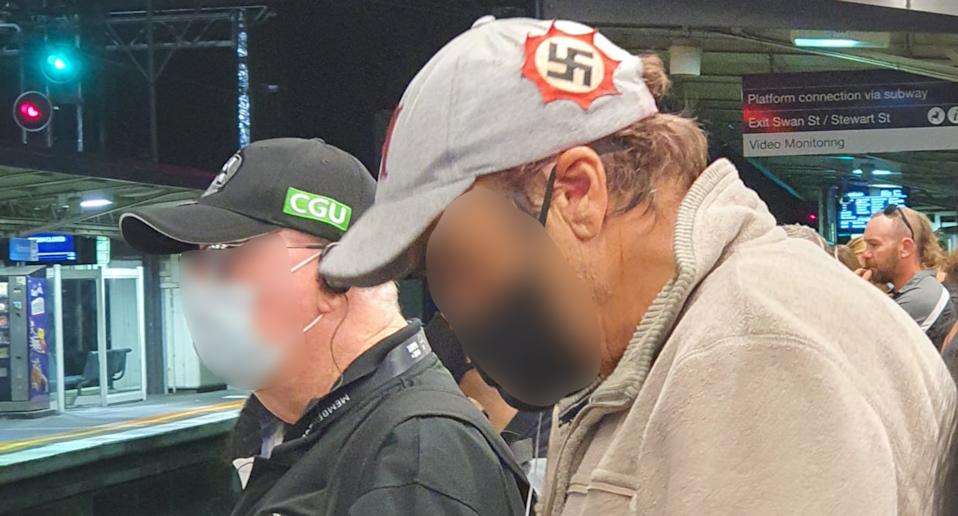 This man was spotted at Richmond station Friday night wearing a hat with a swastika on it. Source: Facebook