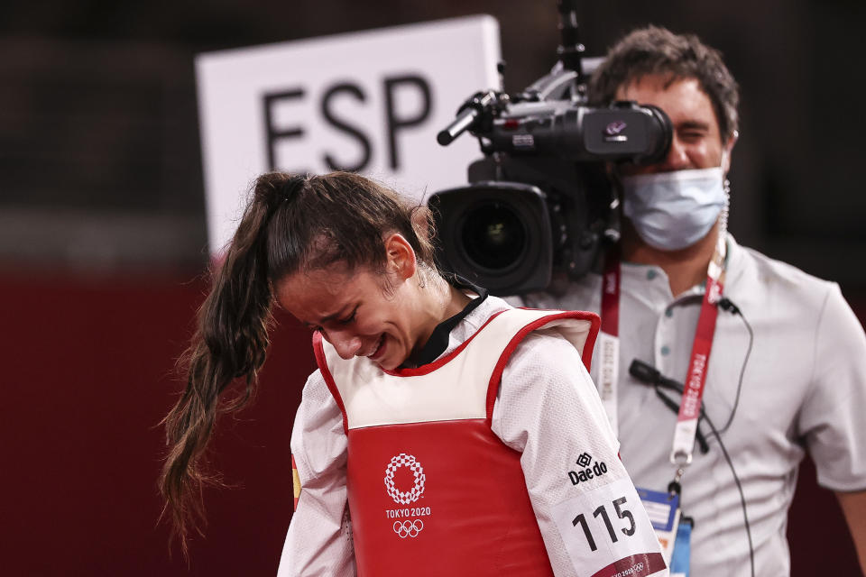 CHIBA, JAPAN - JULY 24: Adriana Cerezo Iglesias of Team Spain reacts after being defeated by Panipak Wongpattanakit of Team Thailand during the Women's -49kg Taekwondo Gold Medal contest on day one of the Tokyo 2020 Olympic Games at Makuhari Messe Hall on July 24, 2021 in Chiba, Japan. (Photo by Maja Hitij/Getty Images)