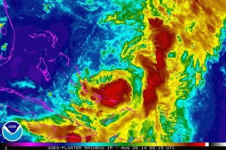 Tropical Storm Cristobal is seen in a NASA Goes Satellite infrared image