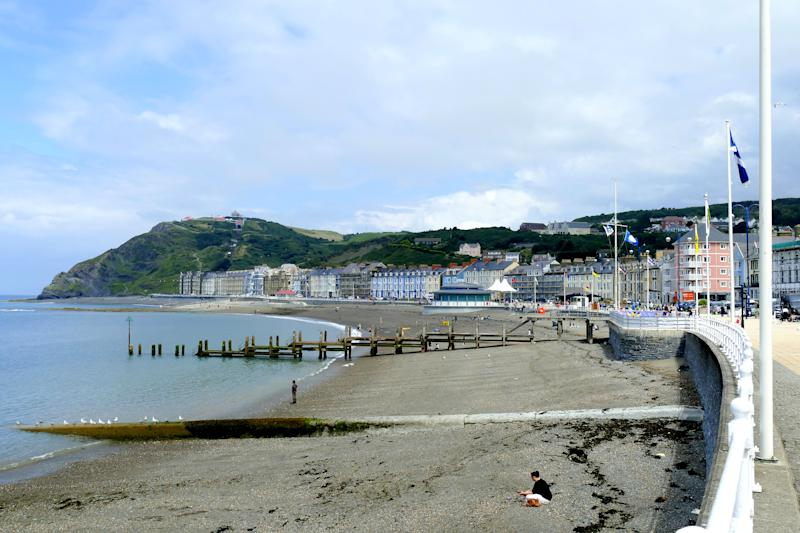 Aberystwyth, Wales, UK. July 22, 2016. The North beach and seafront at Aberystwyth in Wales.