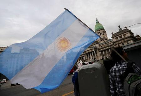 A man waves an Argentine national flag during a protest against a cost increase in public and utility services in Buenos Aires, Argentina, January 10, 2019. REUTERS/Marcos Brindicci