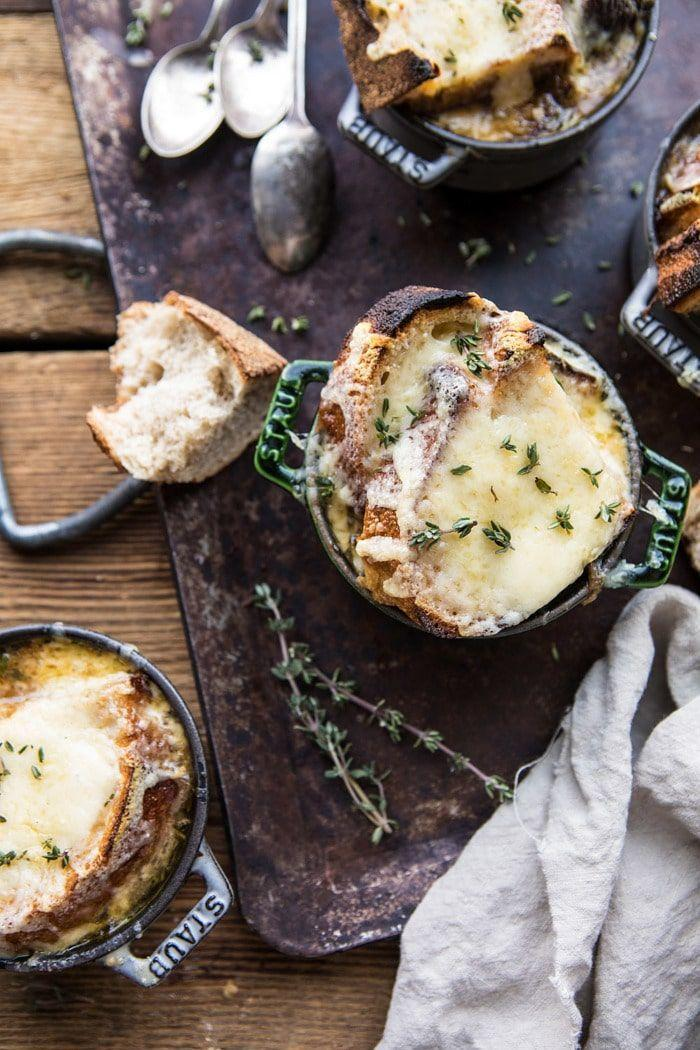 "<p>You'll never need another French onion soup recipe after preparing this bowl. Each spoonful is upgraded with the delicious taste of caramelized shallots.</p><p><strong>Get the recipe at <a href=""https://www.halfbakedharvest.com/herby-french-shallot-soup/"" rel=""nofollow noopener"" target=""_blank"" data-ylk=""slk:Half Baked Harvest"" class=""link rapid-noclick-resp"">Half Baked Harvest</a>.</strong></p><p><strong><a class=""link rapid-noclick-resp"" href=""https://www.amazon.com/dp/B07Y9H66L9/?tag=syn-yahoo-20&ascsubtag=%5Bartid%7C10050.g.3569%5Bsrc%7Cyahoo-us"" rel=""nofollow noopener"" target=""_blank"" data-ylk=""slk:SHOP ONION SOUP BOWLS"">SHOP ONION SOUP BOWLS</a><br></strong></p>"