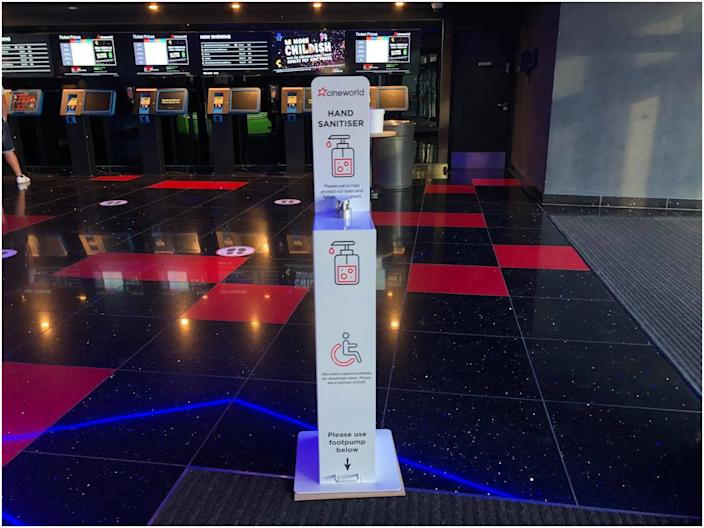 <br>Cineworld also put a hand sanitizing station.
