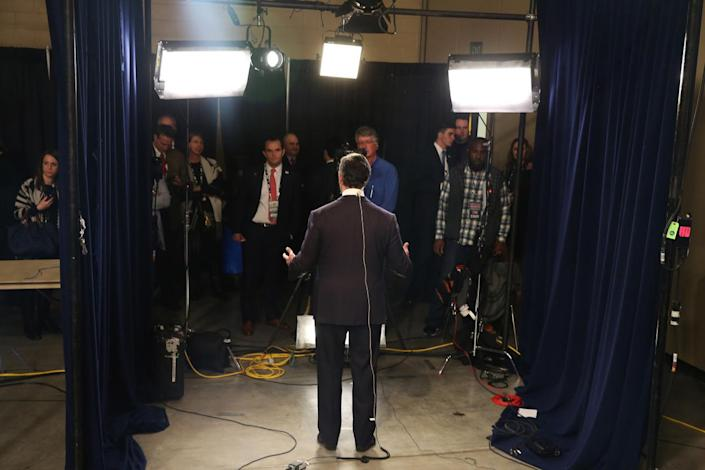 <p>Republican candidate Rick Santorum gives a television interview in the spin room after the first part of the Fox Business Network presidential debate at the North Charleston Coliseum and Performing Arts Center on Jan. 14, 2016, in North Charleston, S.C. <i>(Photo: Scott Olson/Getty Images)</i></p>