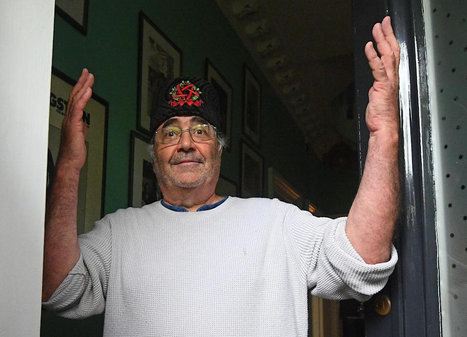 Danny Baker speaking at his London home after he was fired by BBC Radio 5 Live. (Photo by Victoria Jones/PA/Getty)