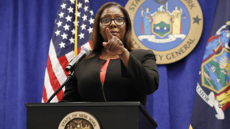 New York State Attorney General Letitia James takes a question from a reporter after announcing that the state is suing the National Rifle Association during a press conference, Thursday, Aug. 6, 2020, in New York. (Kathy Willens/AP Photo)