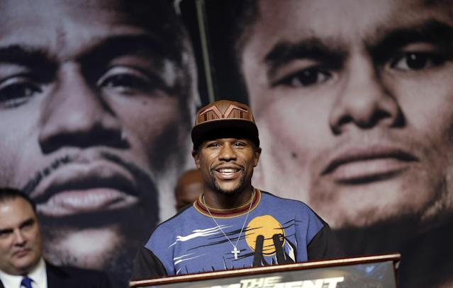 Boxer Floyd Mayweather Jr. speaks during a news conference Wednesday, April 30, 2014, in Las Vegas. Mayweather will face Marcos Maidana in a welterweight title fight on Saturday, May 3. (AP Photo/Isaac Brekken)