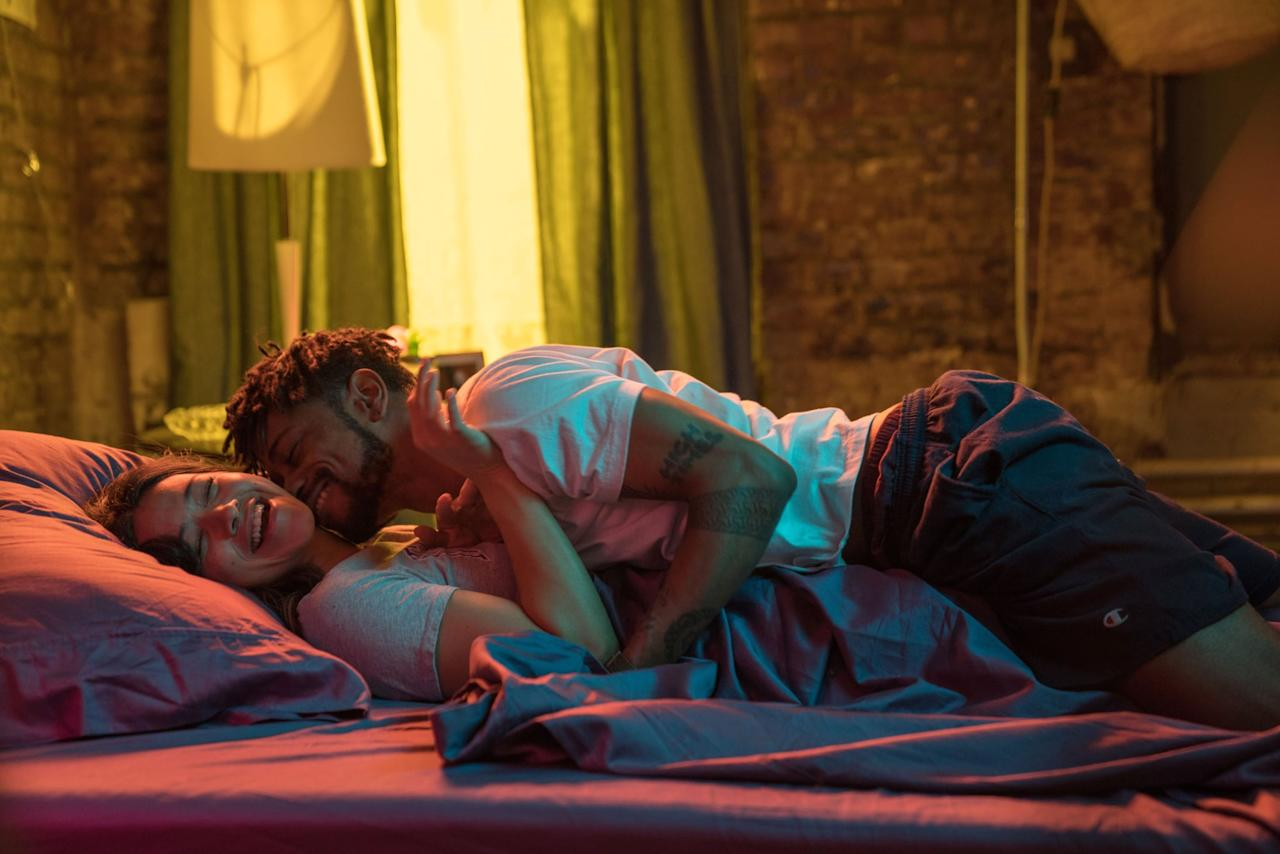 """<p>The Netflix rom-com is packed with quite a few excellent, <a href=""""https://www.popsugar.com/entertainment/Netflix-Someone-Great-Starring-Gina-Rodriguez-Movie-Review-46048205"""" class=""""ga-track"""" data-ga-category=""""Related"""" data-ga-label=""""http://www.popsugar.com/entertainment/Netflix-Someone-Great-Starring-Gina-Rodriguez-Movie-Review-46048205"""" data-ga-action=""""In-Line Links"""">realistic, and empowering sex scenes</a> for all of the women in the story. The biggie, though, has to be between Jenny and Nate, whose relationship is told in nonlinear fashion throughout the movie. The atmospheric neon lighting amps up the sexy, but it's the obvious focus on Jenny's pleasure (and her memory of the hookup) that proves this is a movie that cares about women's experiences of their own sexuality.</p>"""
