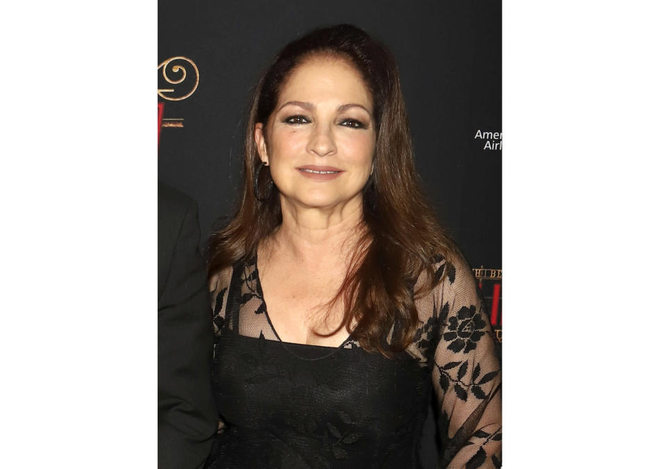 """FILE - Gloria Estefan attends the Broadway opening night of """"Moulin Rouge! The Musical"""" in New York on July 25, 2019. Estefan revealed in an episode of """"Red Table Talk: The Estefans,"""" that she was sexually abused by someone her mother trusted when she was 9 years old. (Photo by Greg Allen/Invision/AP, File)"""