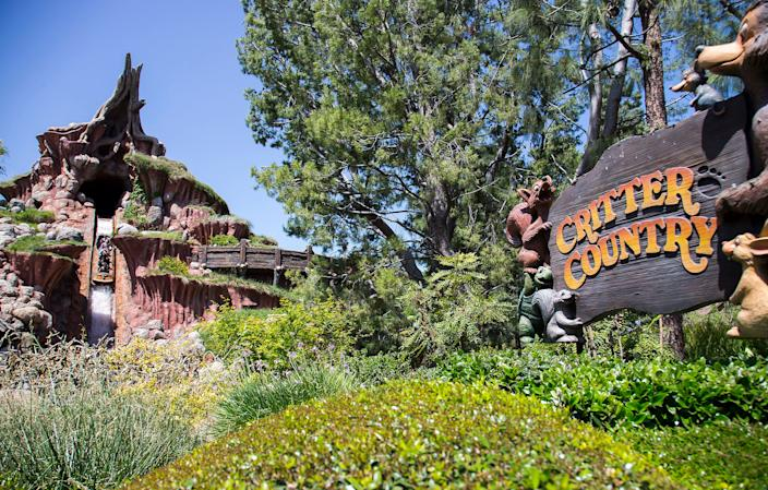 Splash Mountain riders  hurtle down a five story drop at the  Disneyland's Splash Mountain attraction, located in Critter Country.