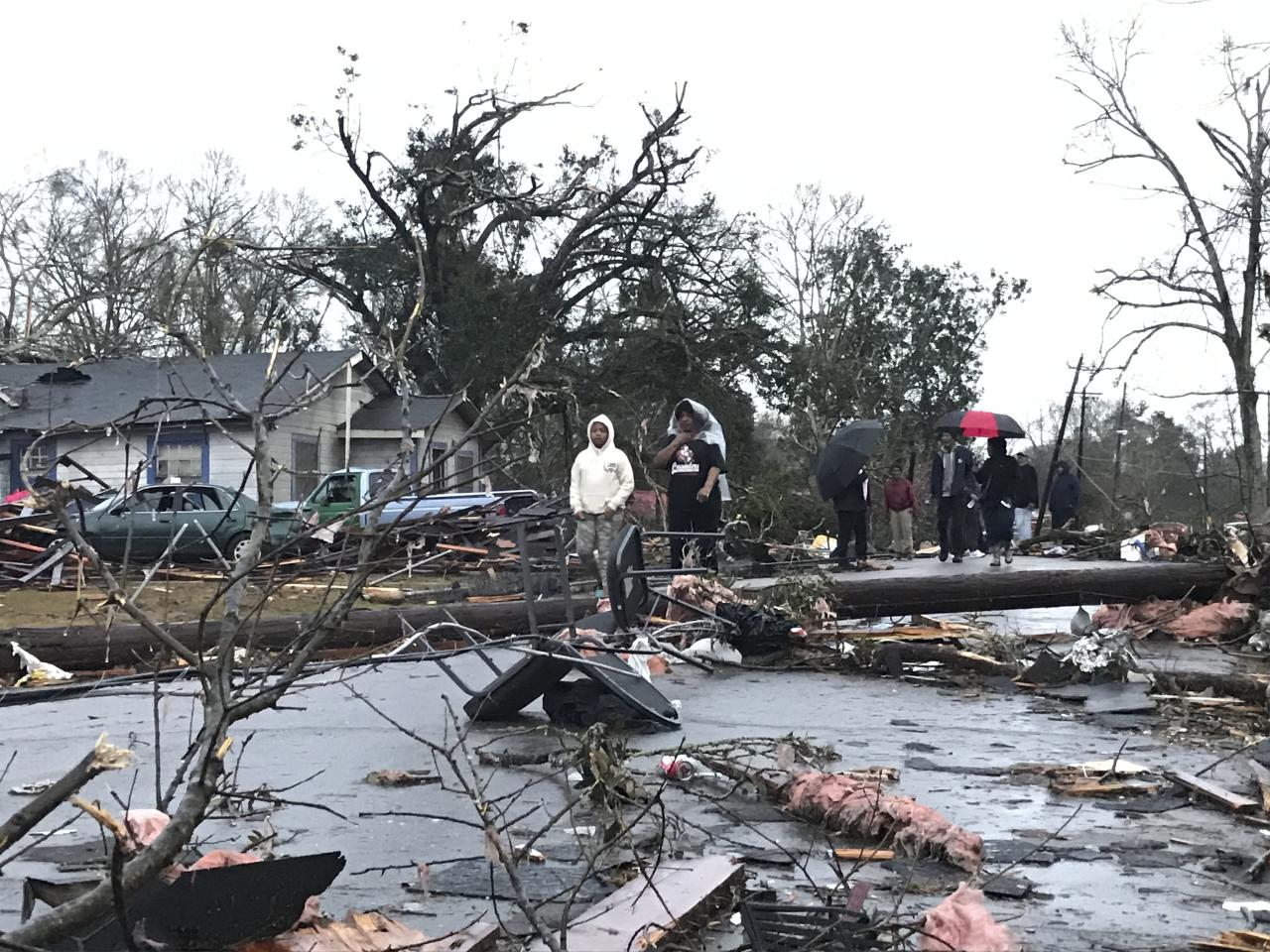 """<p> Trees and debris cover the ground after a tornado tornado ripped through the Hattiesburg, Miss., area early Saturday, Jan. 21, 2017. Mayor Johnny DuPree has signed an emergency declaration for the city, which reported """"significant injuries"""" and structural damage. (Ryan Moore/WDAM-TV via AP) </p>"""