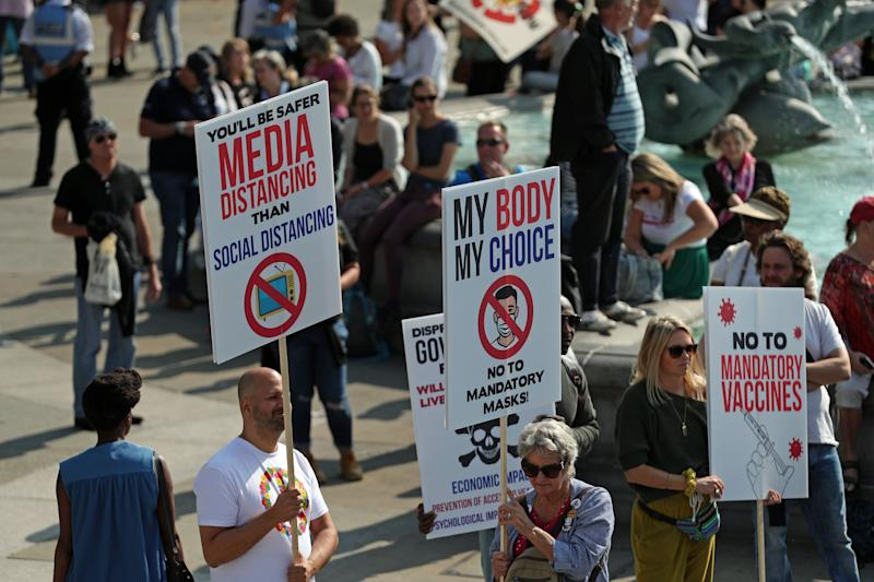 Demonstrators at an anti-vax protest in London's Trafalgar Square. (Photo: PA)