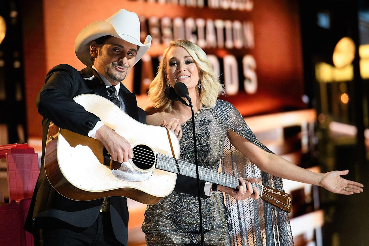 """Considering the 2016 CMAs aired the same month as Election Day — which would lead to Donald Trump's shocking win a few days later — the cohosts squeezed in jokes that poked fun at the Republican presidential candidate's many Trump-isms, with Paisley and Underwood exchanging remarks like, """"This show is rigged,"""" """"Only if I win"""" and """"You're a nasty woman."""""""