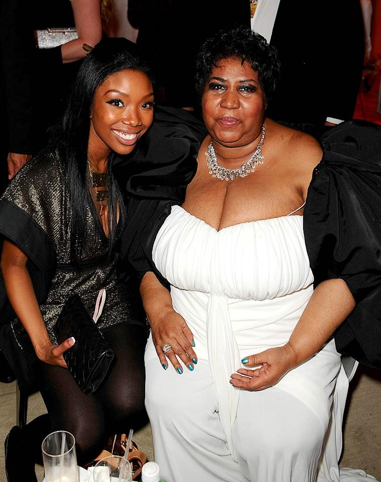 """Brandy took a break from posing with rock stars to get a photo with the legendary Queen of Soul herself, Aretha Franklin. Michael Caulfield/<a href=""""http://www.wireimage.com"""" target=""""new"""">WireImage.com</a> - February 10, 2008"""