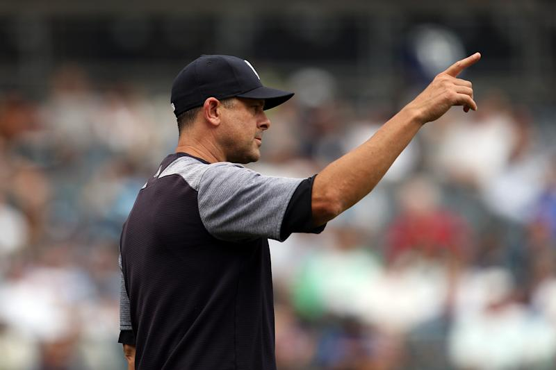 Aaron Boone says he's not opposed to an MLB mercy rule after Yankees lopsided loss to Indians. (Photo by Rob Tringali/MLB Photos via Getty Images)