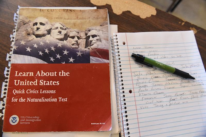 A US citizenship test review booklet and notes are seen during a citizenship test preparation class in Perris, California (AFP Photo/Robyn Beck)