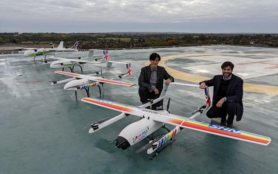 The medical drone delivery service that makes it possible for the machines to carry Covid-19 samples, test-kits and PPE between hospitals has been backed by the UK Space Agency. - Annalisa Russell-Smith/PA