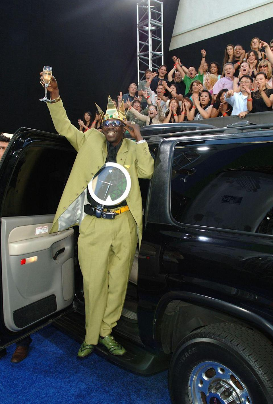 <p>Rapper turned reality star Flavor Flav, who made an attempt at finding love over the course of three seasons on VH1's <em>Flavor of Love</em> (2006-2008), arrives at the 2006 MTV Movies awards ready to party.</p>