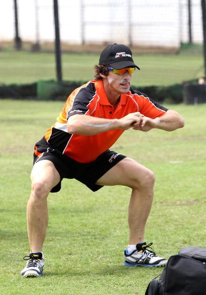 DURBAN, SOUTH AFRICA - OCTOBER 15:  Brad Hogg of Perth Scorchers attends a training session during the Champions League Twenty20 at Sahara Park Kingsmead on October 15, 2012 in Durban, South Africa. (Photo by Anesh Debiky / Gallo Images/Getty Images)