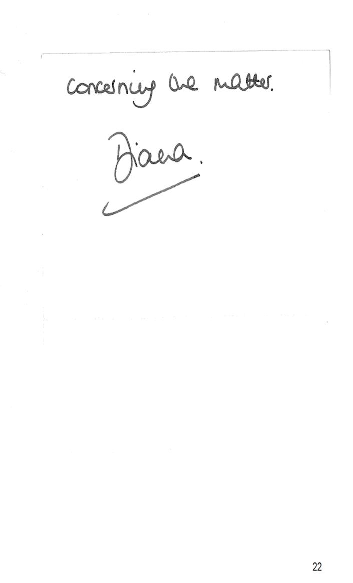 2/2 The letter written by the Princess of Wales to Martin Bashir after her 1995 Panorama interview with him, as published in an Annex to Lord Dyson's independent investigation into the circumstances around the programme. Issue date: Thursday May 20, 2021.
