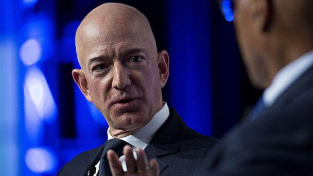 PHOTO: Jeff Bezos, founder and chief executive officer of Amazon.com Inc., speaks during a discussion at the Air Force Association's Air, Space and Cyber Conference in National Harbor, Maryland, U.S., Sept. 19, 2018. (Andrew Harrer/Bloomberg via Getty Images)