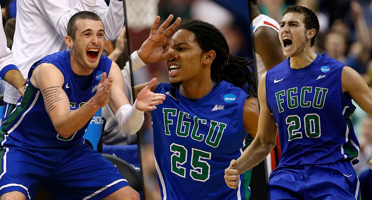<p><span>Then: Brett Comer, Sherwood Brown and Chase Fieler (from l. to r.) became the darlings of the 2013 tournament, as Florida Gulf Coast dunked all over Georgetown – hence the nickname – in a No. 15 over No. 2 upset on the first weekend. They advanced all the way to the Sweet Sixteen, where they lost to the No. 3 Florida Gators.</span><br /><span>Now: Comer, after some stretches in pro ball, spent the 2017-18 season as a graduate assistant at Dayton while both Brown and Fieler are playing overseas, in Belgium and Lebanon, respectively.</span> </p>