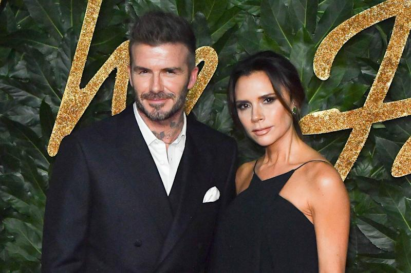 David Beckham and Victoria Beckham attend the Fashion Awards 2018 in partnership with Swarovski at Royal Albert Hall on December 10, 2018 in London, England. (Photo by Stephane Cardinale - Corbis/Corbis via Getty Images)