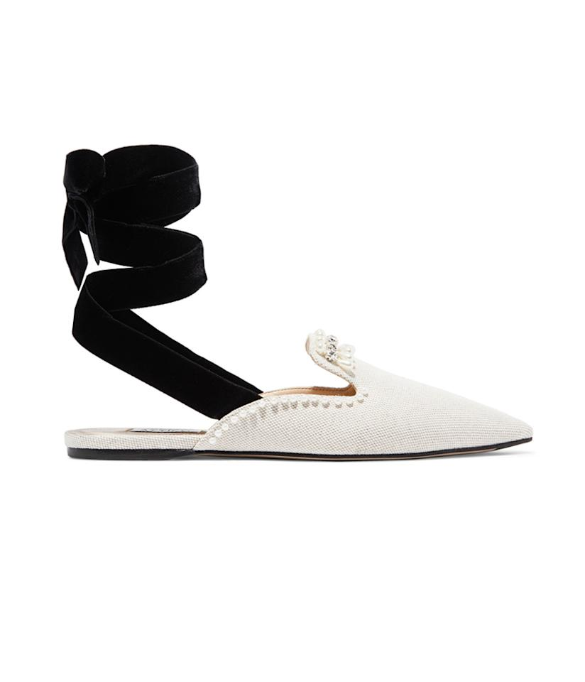 "<p><strong>Attico</strong> Elena Embellished Canvas Slippers, $740, <a rel=""nofollow"" href=""https://www.net-a-porter.com/us/en/product/864579/attico/elena-embellished-canvas-slippers"">Net-a-Porter.com</a> </p>"