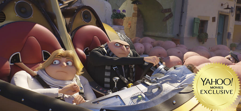 """<p>Gru (<a rel=""""nofollow"""" href=""""https://www.yahoo.com/movies/tagged/steve-carell"""">Steve Carell</a>) returns for this threequel, where he faces off with his dashing long-lost twin brother, Dru, as well as former child star-turned-criminal mastermind Balthazar Bratt (<a rel=""""nofollow"""" href=""""https://www.yahoo.com/movies/tagged/trey-parker"""">Trey Parker</a>). And you can count on a bazillion banana-munching Minions to ratchet up the slapstick factor. 