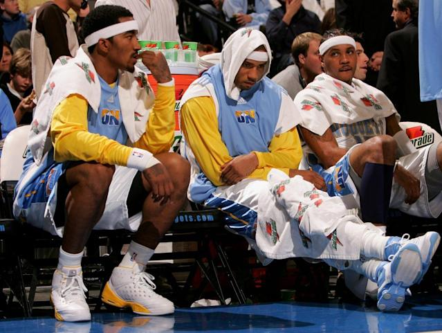 Former Nuggets teammates (from left) J.R. Smith, Kenyon Martin and Carmelo Anthony all clashed with Karl. (Getty Images)