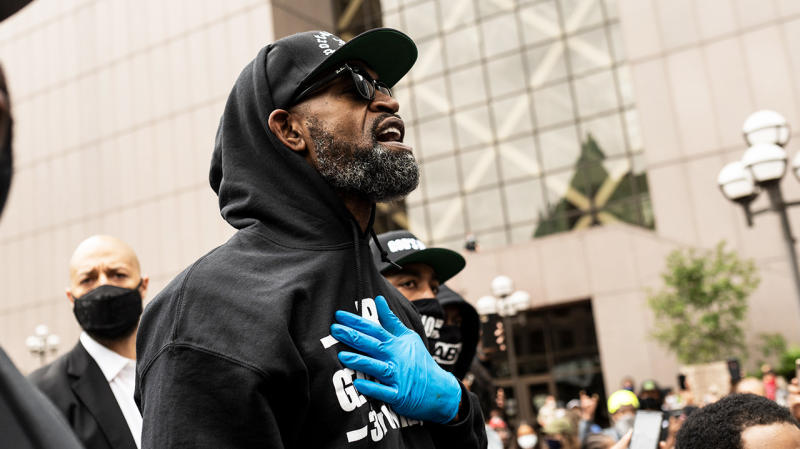 Former NBA player Stephen Jackson speaks at a protest in response to the police killing of George Floyd. (Photo by Stephen Maturen/Getty Images)
