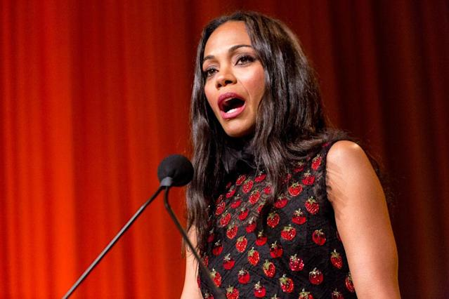 Zoe Saldana accepts an award at the NALIP 2017 Latino Media Awards on June 24, 2017. (Photo: Greg Doherty/Getty Images)