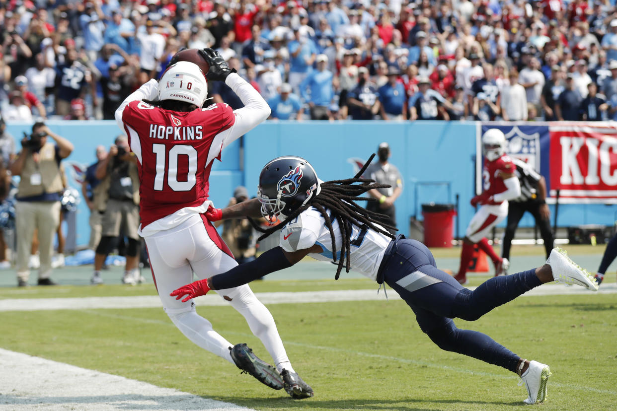 DeAndre Hopkins barely got in the end zone for a touchdown. (Photo by Wesley Hitt/Getty Images)