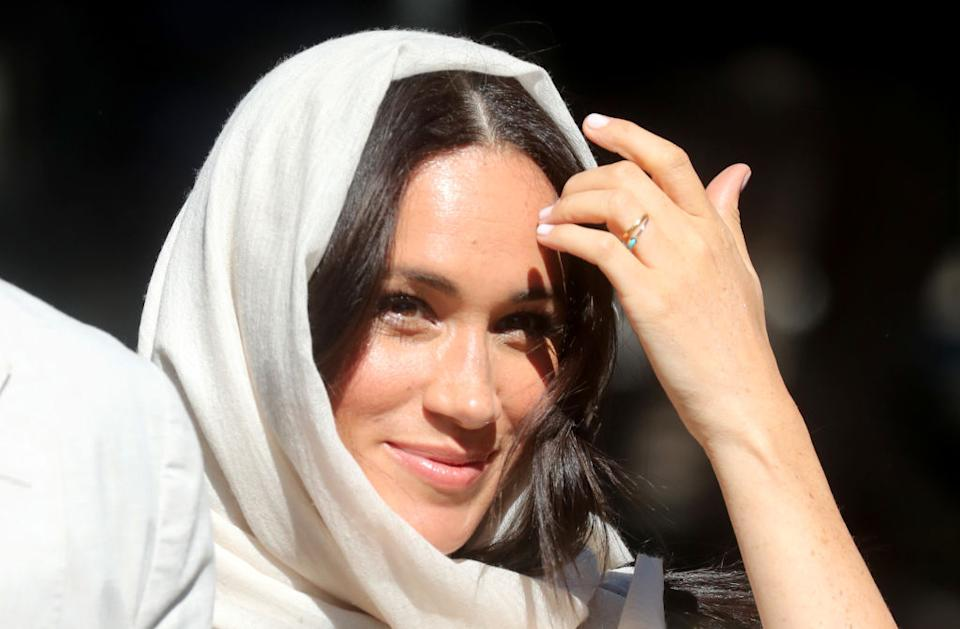 It is the first time Meghan Markle has worn a headscarf during a royal engagement [Photo: Getty]