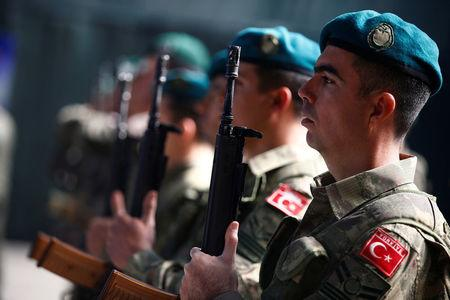 Turkish soliders attend a EUFOR Change of Command Ceremony, in Sarajevo