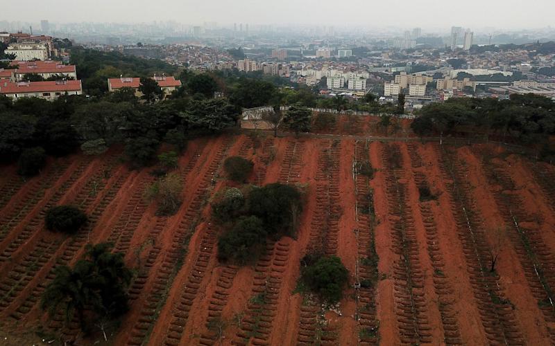 Newly dug graves are seen at Sao Luiz cemetery where the administration says they recently dug 3000 new graves - Reuters
