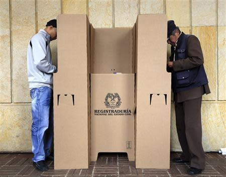 People vote during the presidential elections in Bogota