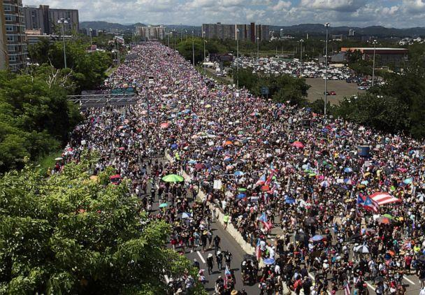 PHOTO: An aerial view from a drone shows thousands of people as they fill the Expreso Las Americas highway calling for the ouster of Gov. Ricardo A. Rossello on July 22, 2019 in San Juan, Puerto Rico. (Joe Raedle/Getty Images)