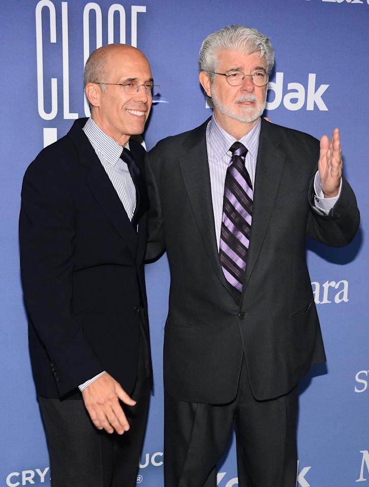 BEVERLY HILLS, CA - JUNE 12:  Dreamworks Animation CEO Jeffrey Katzenberg (L) and producer/director George Lucas attend Women In Film's 2013 Crystal + Lucy Awards at The Beverly Hilton Hotel on June 12, 2013 in Beverly Hills, California.  (Photo by Mark Davis/Getty Images for Women In Film)