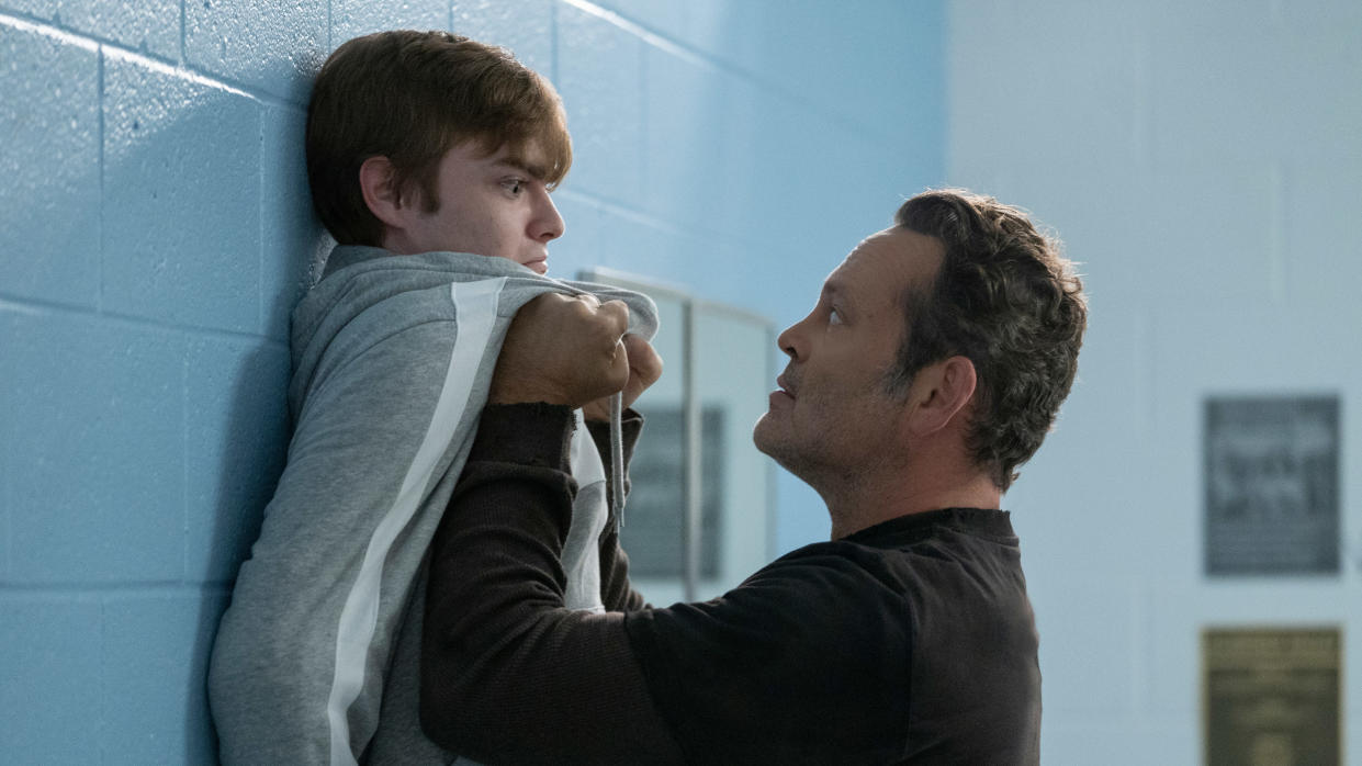 Vince Vaughn utilises both his comedic and horror sides as the Butcher in 'Freaky'. (Brian Douglas/Universal Pictures)