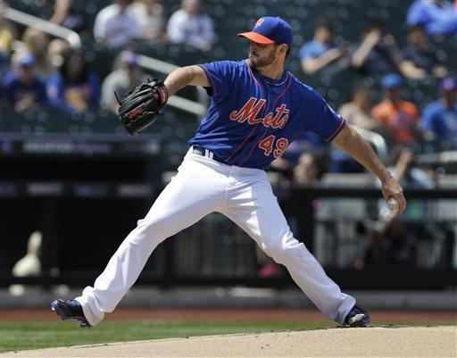 New York Mets starting pitcher Jonathon Niese throws during the first inning of the baseball game against the Philadelphia Phillies at Citi Field, Sunday, April 28, 2013, in New York. (AP Photo/Seth Wenig)