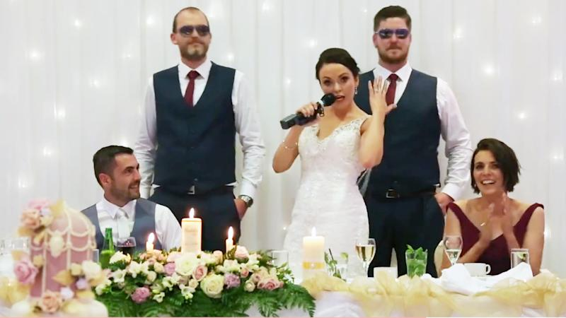instead of giving a toast this bride rapped her own version of ice